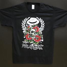 Schwarzes T-Shirt-Druckmuster mit dem A1-Textildrucker WER-EP6090T